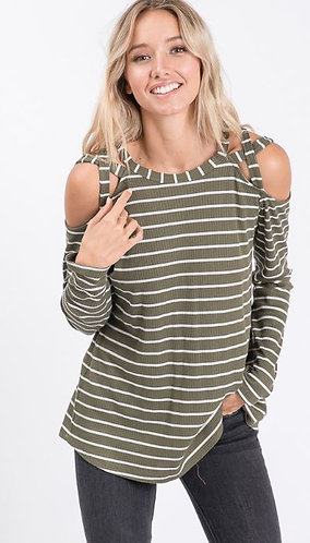 Olive Stripe Long Sleeve Cross Shoulder Thermal