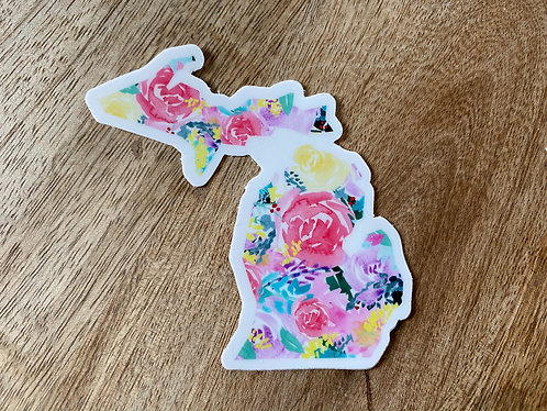 Bright Floral Michigan Sticker