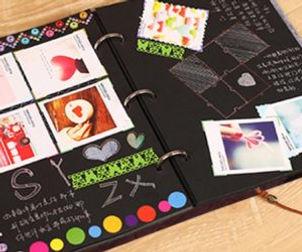 felt-cover-album-black-sheets-scrapbook-