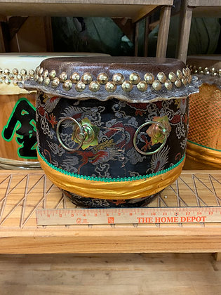 "13"" Kung Fu / Southern Lion Dance Drum - Black Brocade with Gold Band"