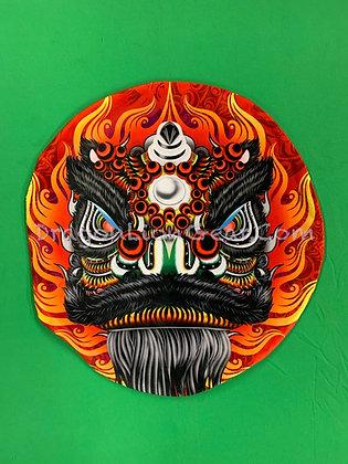 Lion Head Pillow - Black / Red - Guan Yu