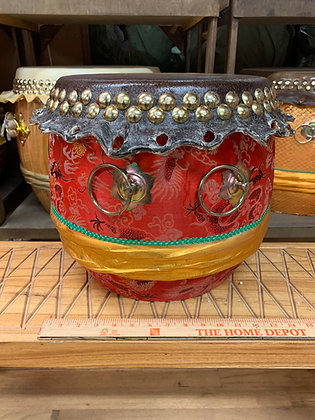 """13"""" Kung Fu / Southern Lion Dance Drum - Red Brocade with Gold Band"""