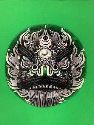 Lion Head Pillow - Black / Green