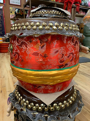 """16"""" Kung Fu / Southern Lion Dance Drum - Red Brocade with Gold Band"""