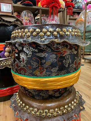 """16"""" Kung Fu / Southern Lion Dance Drum - Black Brocade with Gold Band"""
