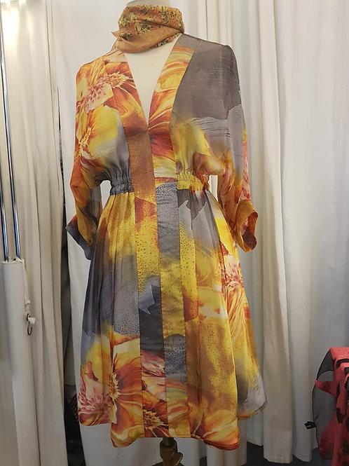 Robe en mousseline grand motif
