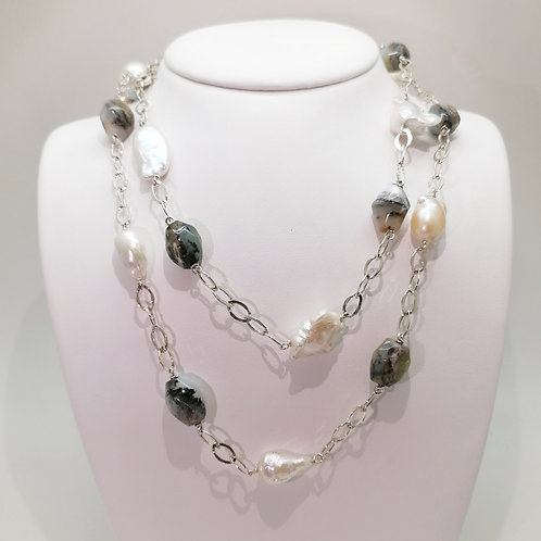 Collier Perles baroques et Opales