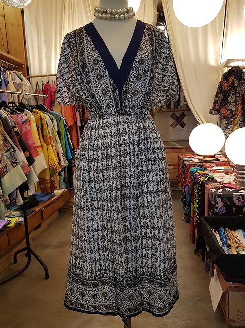 Robe soie imprimée noir/blanc/ocre