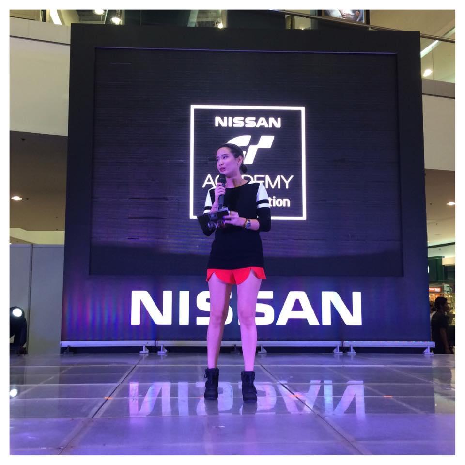Karla Aguas hosting for the Nissan GT Academy