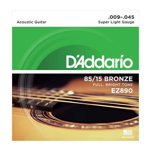 EZ890 | D'Addario 85/15 Bronze Acoustic Guitar Strings | Super Light, 09-45
