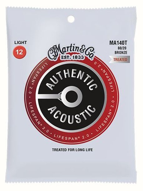 MA140T | Acoustic Guitar Strings | 80/20 Bronze | Lifespan 0.2 | Martin