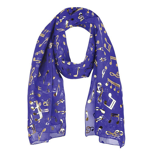 240542L   Scarf   Gold Notes Purple