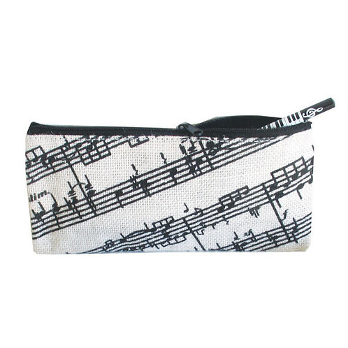 243850J | Pencil Case | Jute Pencil Case Music Staves Design