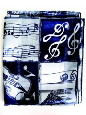 2438219 | Scarf | Music Square Pattern Blue Long