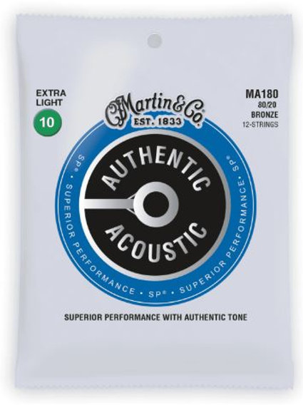 MA1T | Acoustic Guitar Strings | 12 Strings Set | 80/20 Bronze | Martin