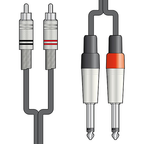 190.06 | Audio Lead | Twin RCA to 2 x 6.3mm Mono Jack Plug