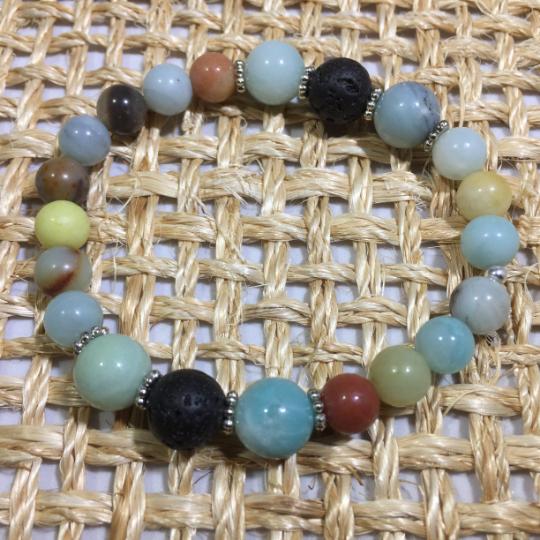 Amazonite,(Polished) Lava, & Sterling Silver Aroma Therapy Bracelet
