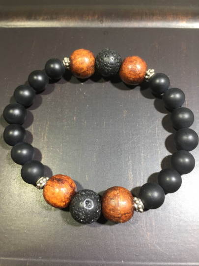 Rosewood, Lava, Onyx & Sterling Silver Aroma Therapy Bracelet