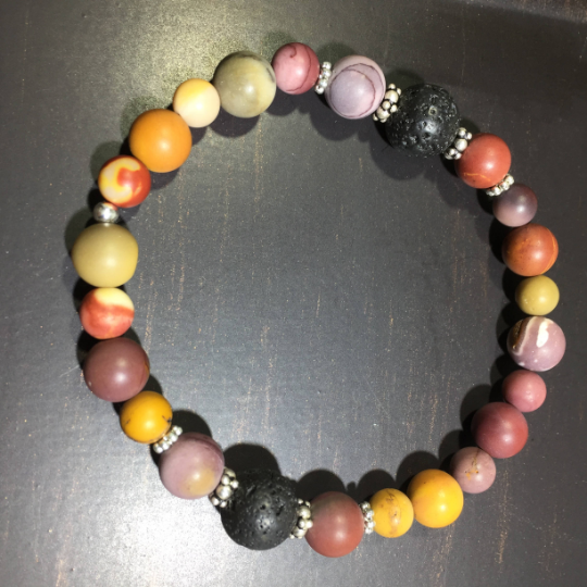 Mookaite, Lava, & Sterling Silver Aroma Therapy Bracelet