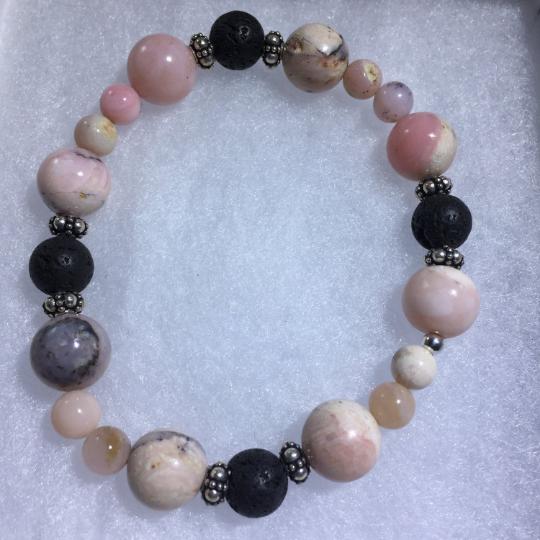 Peruvian Opal, Lava, Sterling Silver AromaTherapy Bracelet