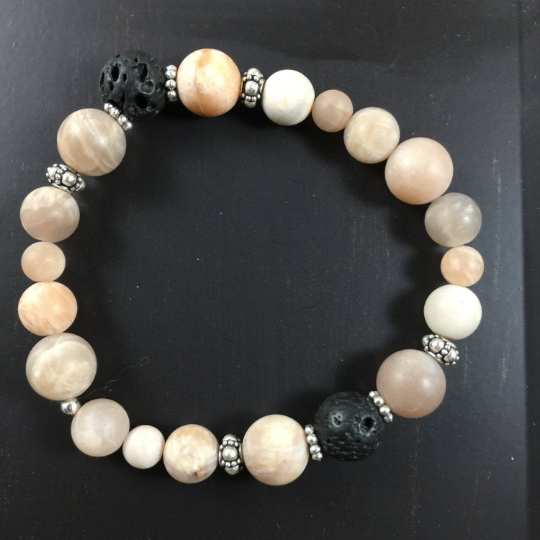 Peach Moonstone, Sterling Silver & Lava Aroma Therapy Bracelet