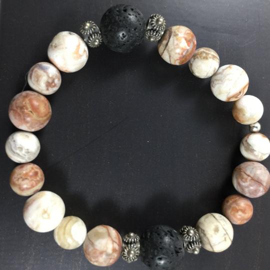 Lace Agate, Sterling Silver & Lava AromaTherapy Bracelet