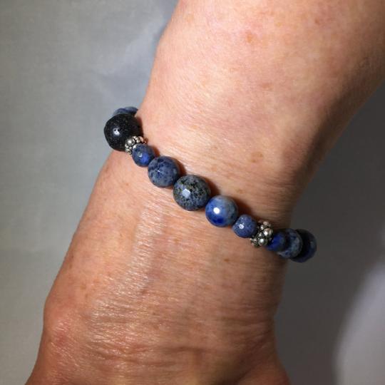 Dumortierite, Sterling Silver & Lava Aroma Therapy Bracelet