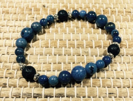Dumortierite, Lava, Sterling Silver Aroma Therapy Bracelet