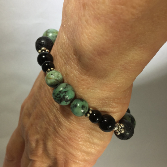 African Turquoise, Black Onyx, Lava & Sterling Aroma Therapy Bracelet