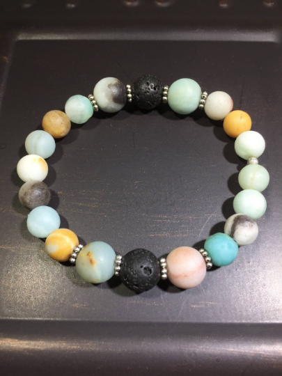 Amazonite, Lava, & Sterling Silver Aroma Therapy Bracelet