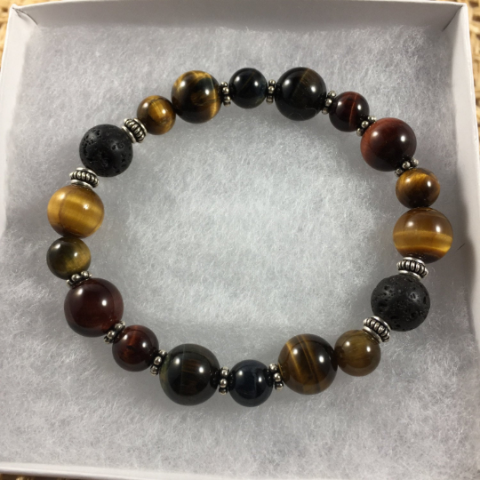 Multi Tiger Eye, Sterling Silver & Lava Aroma Therapy Bracelet