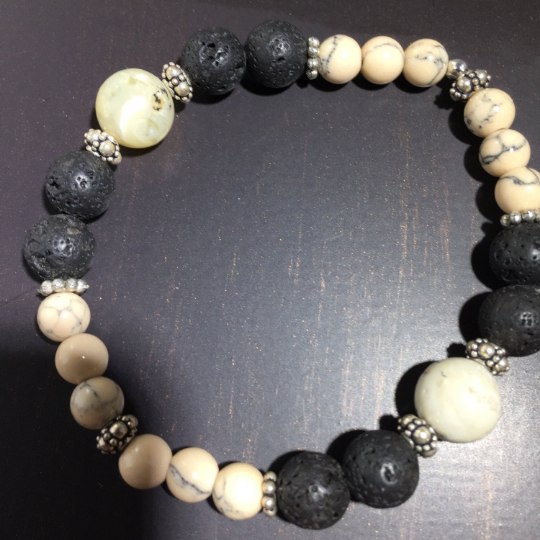 Opal, Sterling Silver & Lava Aroma Therapy Bracelet // Healing Stones