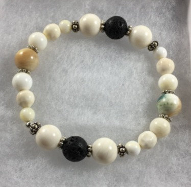 Peacock Shell, Sterling Silver & Lava Aroma Therapy Bracelet