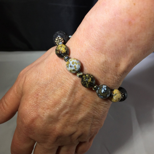 Ocean Jasper, Sterling Silver & Lava Aroma Therapy Bracelet
