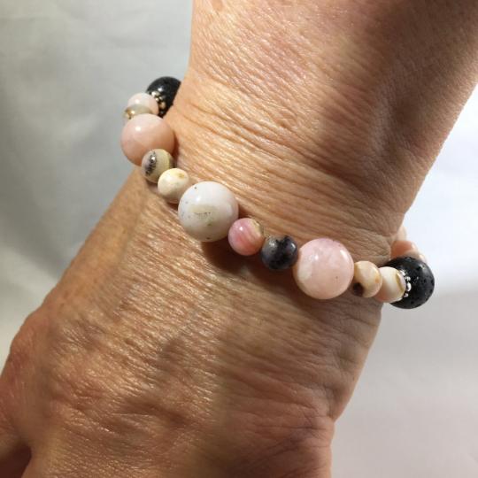 Peruvian Opal, Sterling Silver & Lava Aroma Therapy Bracelet