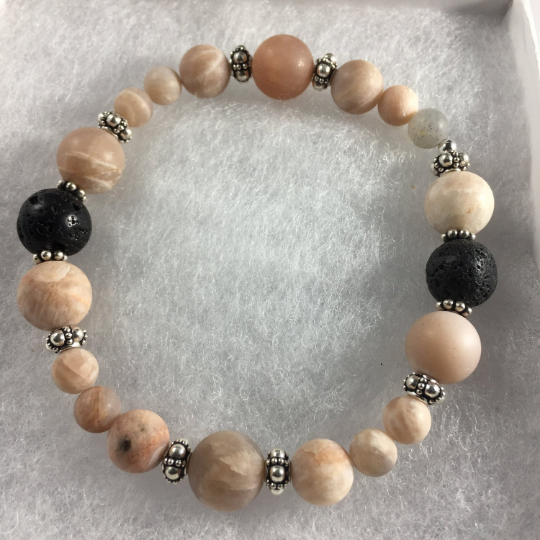 Peach Moonstone, Lava, Sterling Silver Aroma Therapy Bracelet