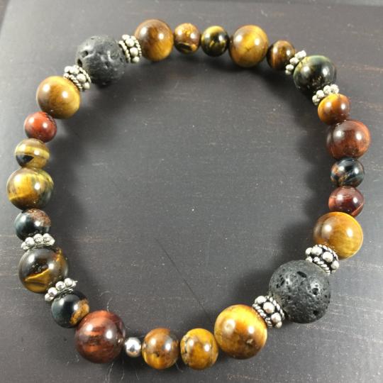 Multi Tiger Eye, Sterling Silver & Lava AromaTherapy Bracelet