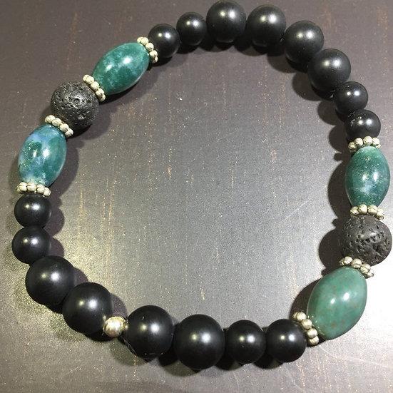 Agate, Onyx, Sterling Silver, Lava Aroma Therapy Bracelet