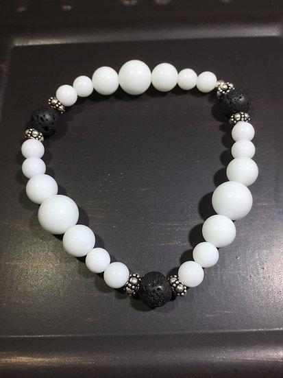 Bracelet White Onxy, Lava, & Sterling Silver