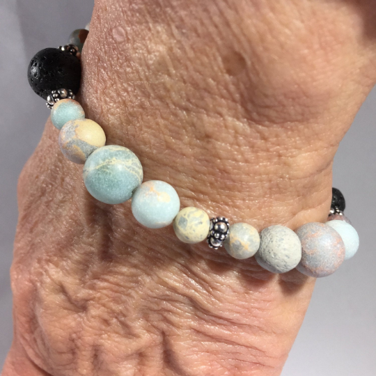 African Opal, Lava, Sterling Silver Aroma Therapy Bracelet