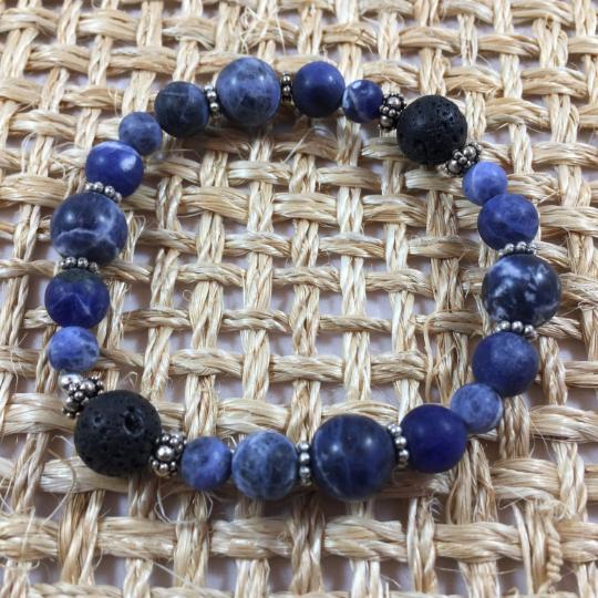 Sodalite, Sterling Silver & Lava Aroma Therapy Bracelet