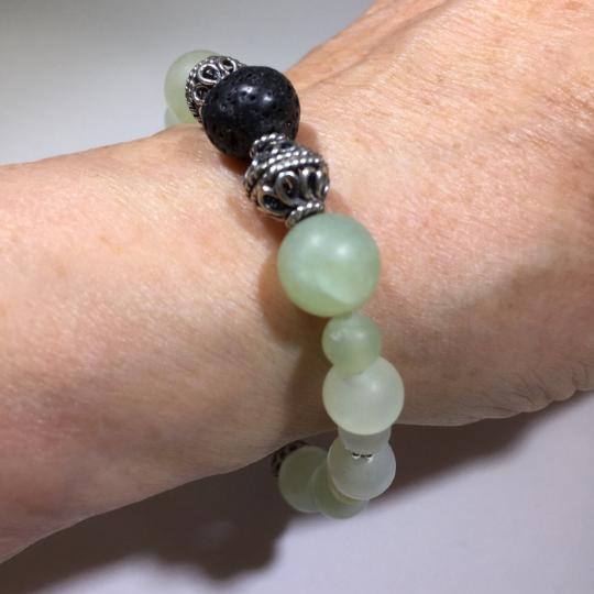 Burma Jade, Sterling Silver & Lava Stone Aroma Therapy  Bracelet
