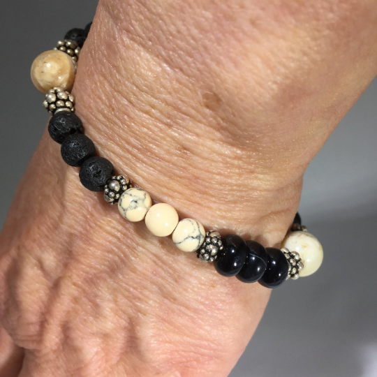 Opal, Onyx and Sterling Silver Aroma Therapy Bracelet