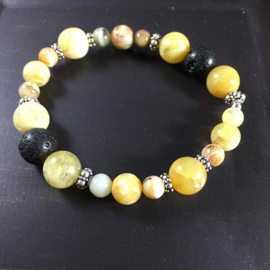 Golden Opal, Lava, Sterling Silver Aroma Therapy Bracelet
