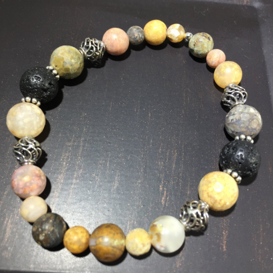 Moss Agate, Sterling Silver & Lava Aroma Therapy Bracelet