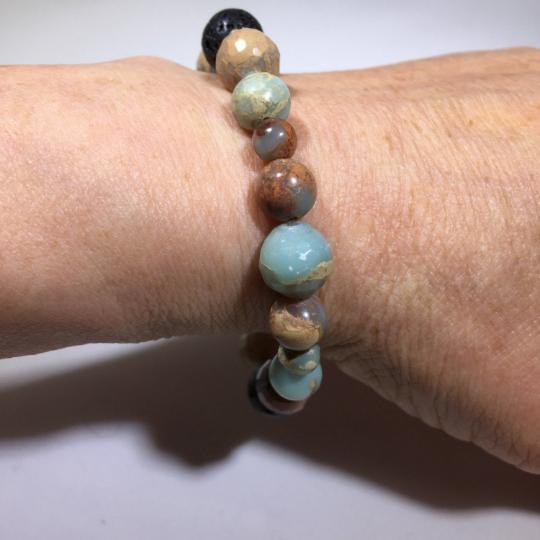 African Opal, Sterling Silver & Lava AromaTherapy Bracelet