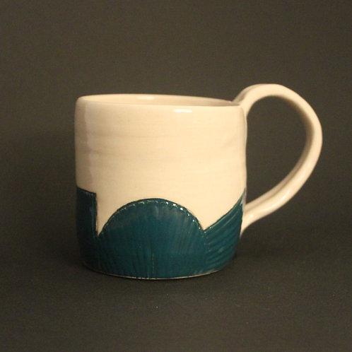 Incised mug with Emerald green glaze