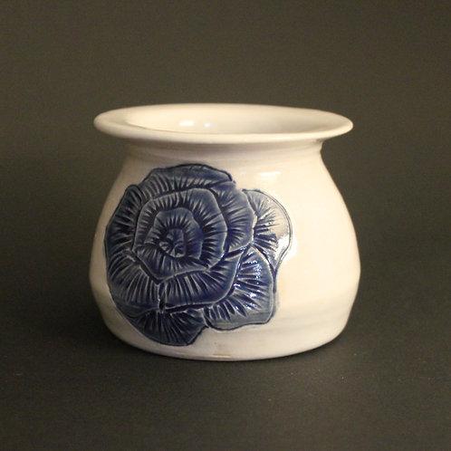 Incised floral planter with cobalt blue glaze