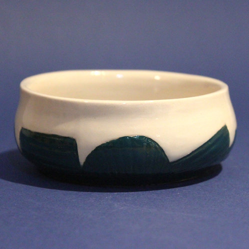 Incised bowl with Emerald green glaze