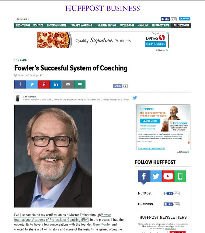 Fowler Successful Coaching System in Huffington